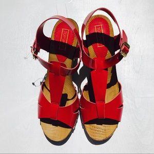 77abd8ad26 Topshop Shoes | Red Nano Tbar Clog Wood Heel Sandals | Poshmark